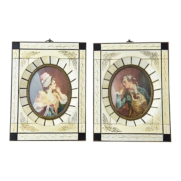 19th Century Antique Miniature Lovers Portrait Paintings - A Pair For Sale