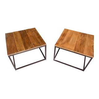 Contemporary Industrial End Tables - A Pair