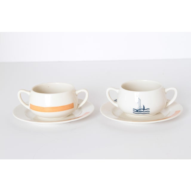 Blue Pair Signed S.S. Leviathan Two-Piece Matched Serveware, Eugene Schoen and Lee Schoen by OPCO Syracuse China For Sale - Image 8 of 11