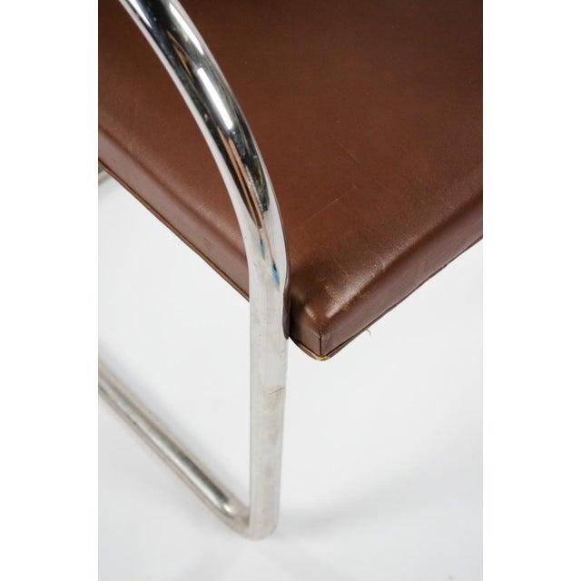 Animal Skin 1960s Mid-Century Modern Brno Knoll International Tubular Chrome and Naugahyde Arm Chair For Sale - Image 7 of 13