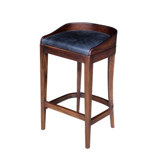 Costantini Argentine Rosewood and Wrapped Leather Pia Stool For Sale