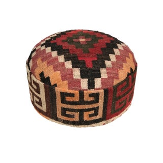 "Custom Made Round Ottoman/Footstool W/Vtg Tribal Afghan Kilim 11.5"" H For Sale"