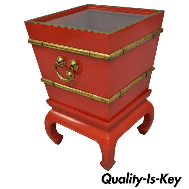 Chinoiserie Red Lacquer Oriental Pedestal Planter For Sale - Image 11 of 11