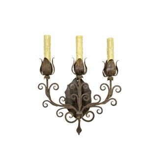 Renaissance Revival Iron Tulip Candelabra Sconce For Sale