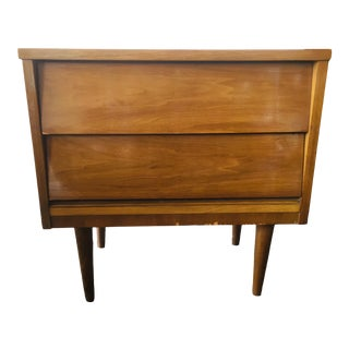 1960s Mid Century Modern Dixie Nightstand With Two Louvered Drawers For Sale