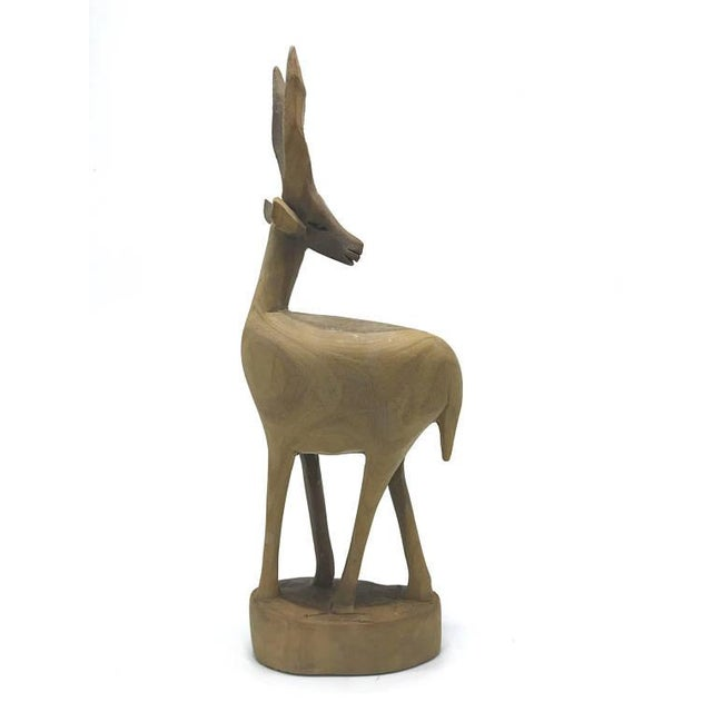 """Mid-Century Handcarved Wood Gazelle 4.25""""w x 11.5""""h See photos for conditions. Disclaimer: This item is also available for..."""