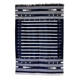 "Contemporary Handwoven ""Alwar Indigo"" Area Rug - 4′ × 6′ For Sale"