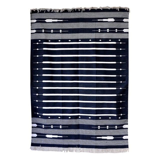 "Contemporary Handwoven ""Alwar Indigo"" Area Rug - 4′ × 6′ For Sale"