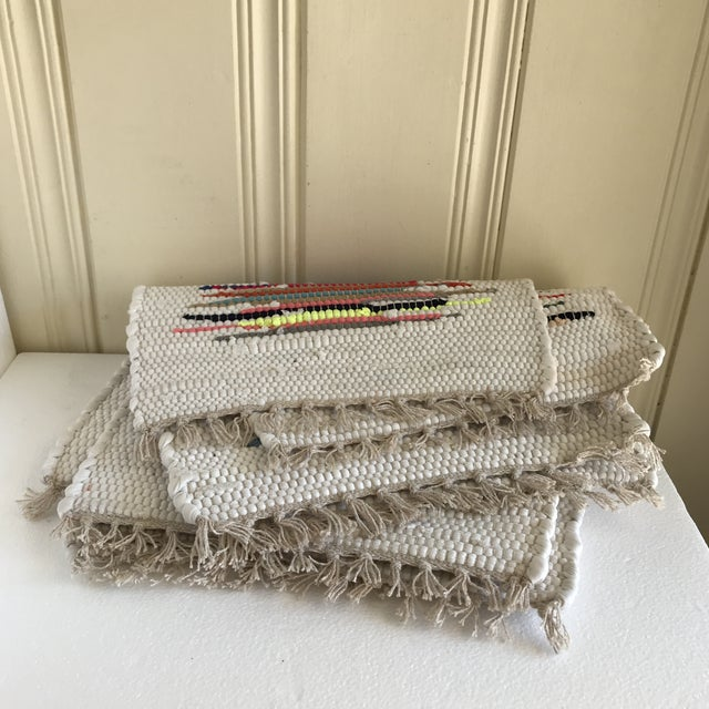 Boho Woven Rag Rug Placemats, Set of Four For Sale In Los Angeles - Image 6 of 8