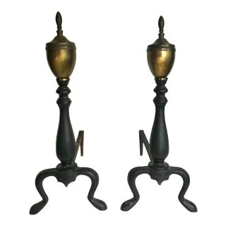 Antique Black Iron Andirons - a Pair For Sale