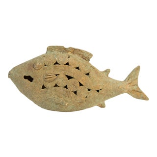 Mid 20th Century African Oxidized Bronze Wire Design Fish For Sale
