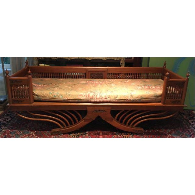 Tan 20th Century Asian Thai Howdah Hand Carved Teak Daybed For Sale - Image 8 of 10
