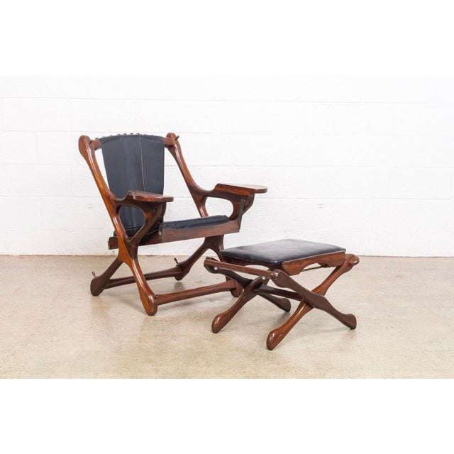 Mid-Century Modern Mid Century Mexican Modern Don Shoemaker Swinger Chair With Ottoman For Sale - Image 3 of 13
