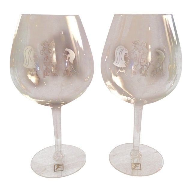 Mary Lynn Blaustta for Flemings Wine Glasses - a Pair For Sale