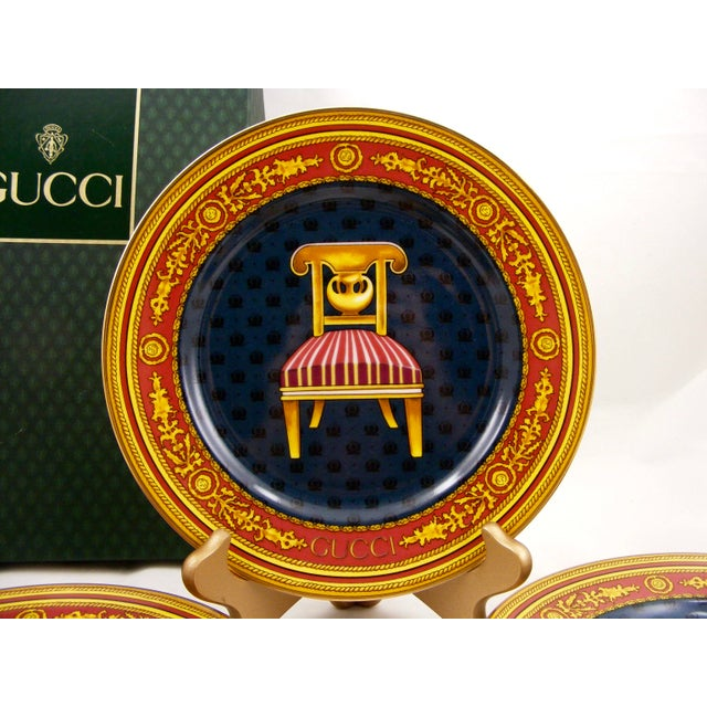 Traditional Gucci Porcelain Chair Plates - Set of 4 For Sale - Image 3 of 9