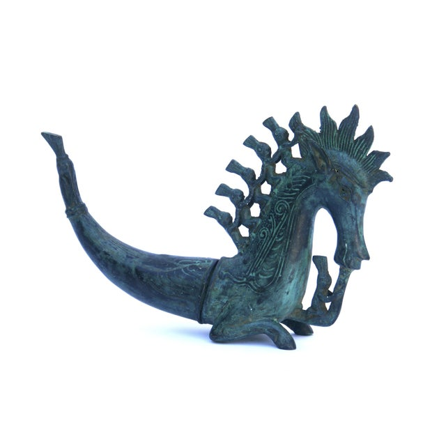 Turquoise Bronze Horse Figurine For Sale - Image 8 of 9