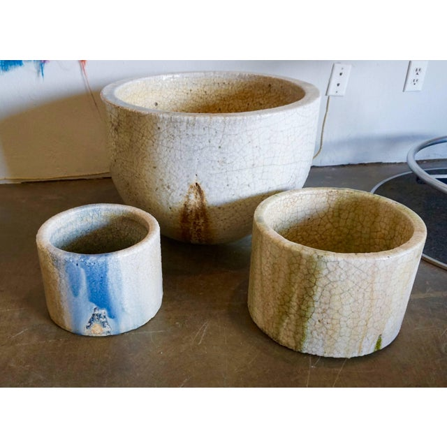 Crackled Glaziers Crucible Planter For Sale In Palm Springs - Image 6 of 8