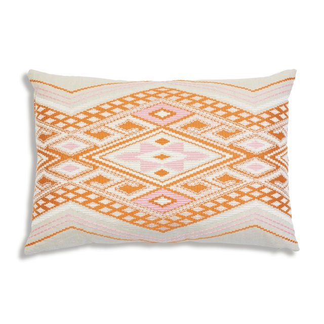 Schumacher Bayeta Pink and Orange Embroidery Pillow For Sale In New York - Image 6 of 6