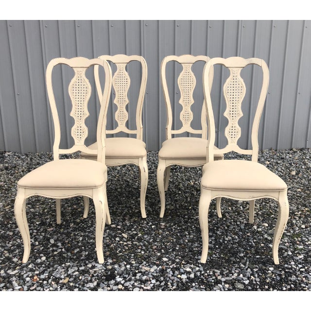 Wood Vintage Shabby Chic Dining Chairs -Set of 4 For Sale - Image 7 of 7