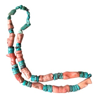 Antique Collection of Coral and Turquoise Trade Beads For Sale
