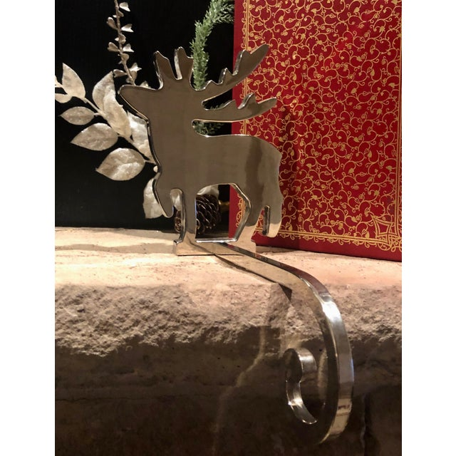 Traditional Vintage Stocking Hangers Christmas Reindeer Silver Long Handle Pair For Sale - Image 3 of 10