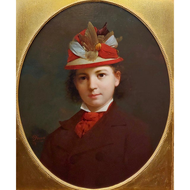 Realism Stephen William Shaw -19th C. Portrait of a Fashionable Young Girl W/A Feather Hat-Oil Painting For Sale - Image 3 of 11