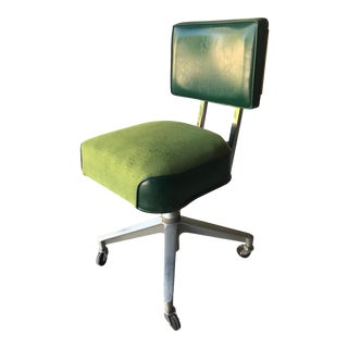 1960s Vintage Green Swivel Adjustable Rolling Office Chair For Sale