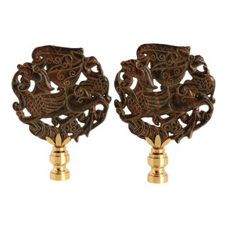 Flying Foo Dog Lamp Finials - a Pair For Sale