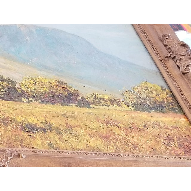 Traditional African Landscape Oil Painting in Gold Frame For Sale - Image 3 of 4