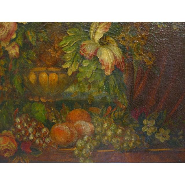 Vintage Italian Floral Still-Life Oil Painting - Image 3 of 5