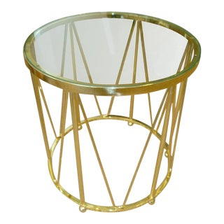 Brass End or Side Drum Table Vintage For Sale