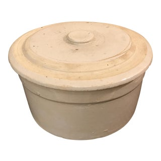 Antique Salt Glaze Round Crock Pot For Sale