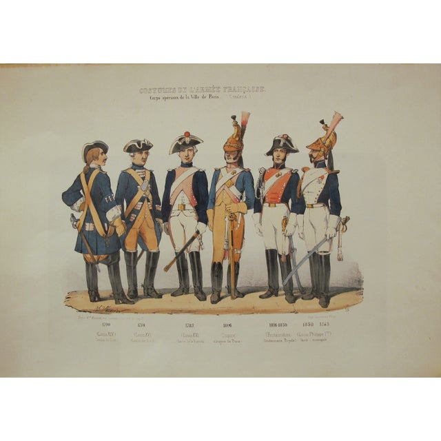 1850s Rare Vintage French Military Costumes Print - Image 2 of 4