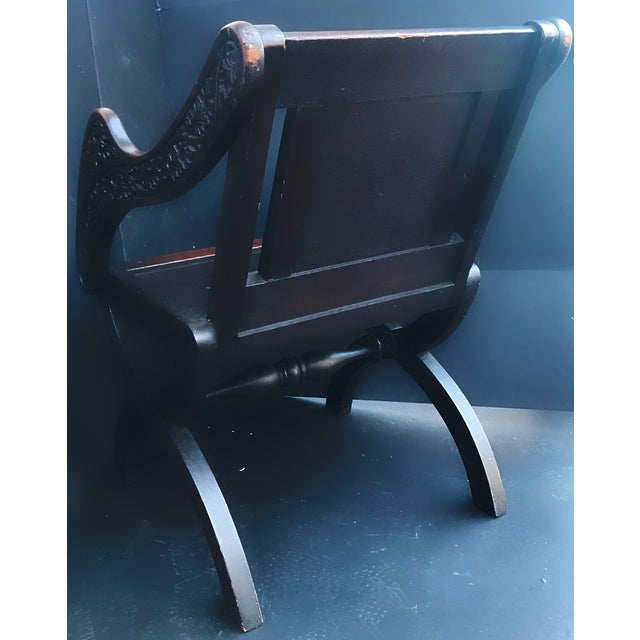 Antique Tudor Revival English Manor House Carved Hall Chair For Sale - Image 4 of 13