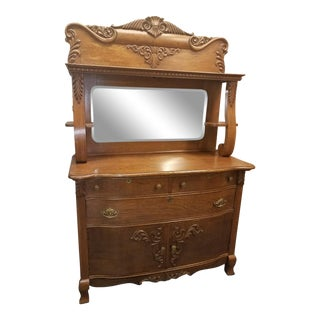 Antique Oak Sideboard Buffet With Mirror For Sale