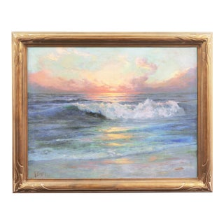 1936 'Seascape' Oil on Canvas Painting by Angel Espoy, Framed For Sale