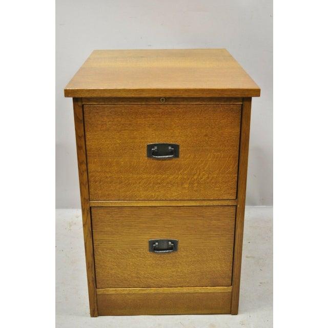 L&j G Stickley Arts & Crafts Mission Oak Wood Two Drawer Office File Cabinet For Sale - Image 12 of 13