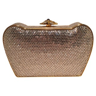 Judith Leiber Clear Swarovski Crystal Flower Top Minaudiere Evening Bag Clutch For Sale
