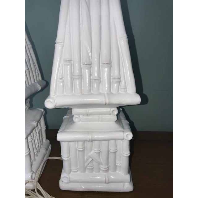 Hollywood Regency 20th Century Hollywood Regency Ceramic Bamboo Obelisk Lamps - a Pair For Sale - Image 3 of 7