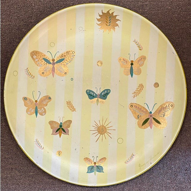 1950s Georges Briard Tole Butterflies + Flora Tray, Signed For Sale - Image 12 of 13