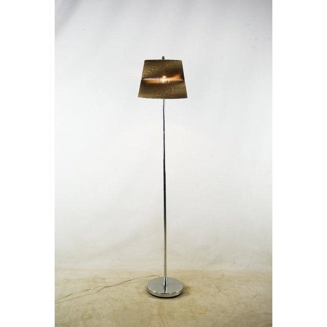 Contemporary cardboard shaded floor lamp chairish this one of a kind modern floor lamp with a unique cardboard lamp shade will bring aloadofball Gallery