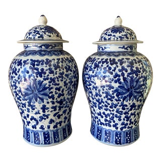 1920s Vintage Cobalt Temple Jars- A Pair For Sale