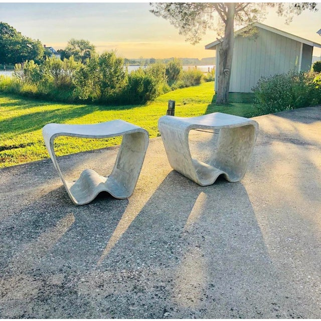 Exquisite set of Ludwig Wasler garden stools, for Eternit, under the direction of Willy Guhl. Comprised of fibrated...