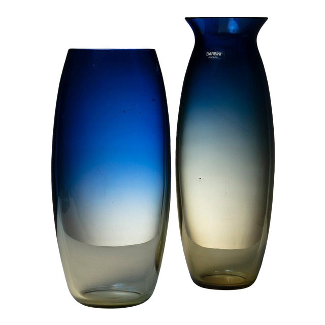 Pair of Murano Glass Vases by Barbini For Sale