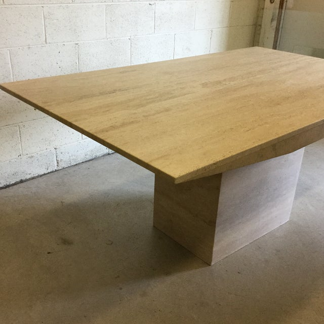 Contemporary Travertine Marble Dining Table or Desk For Sale - Image 3 of 13