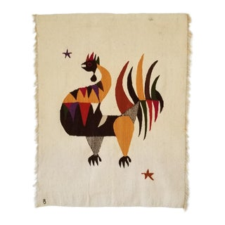Large Mid-Century Rooster Wall Hanging - Hand Woven Wool . For Sale