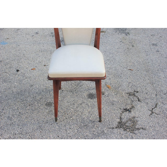Set of 6 French Art Deco or Art Modern Solid Mahogany Dining Chairs Circa 1950s For Sale - Image 10 of 13