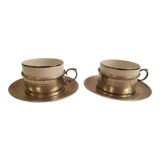 Vintage Rein Zinn Pewter Cup and Saucers With Ramekin Style Cup Inserts - a Pair For Sale