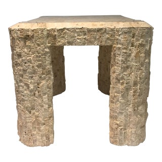 Tessellated Rough Travertine With Brass Inlay Side Table For Sale