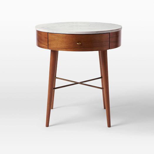 MidCentury Modern West Elm Marble Top Wooden Side Table Chairish - West elm mid century side table